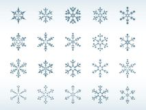 Snowflakes Icon Set. Icon Set of 20 Different Snowflakes Royalty Free Stock Photo