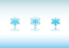Snowflakes Icon Set. Set of 3 different snowflakes icon designs with reflections Royalty Free Illustration