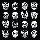 Snowflakes icon set on black and white background Royalty Free Stock Photos