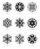 Snowflakes icon set on black and white background. Winter Christmas icons set- snowflakes isolated on white Stock Images