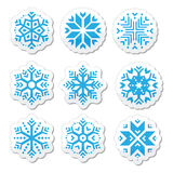 Snowflakes icon set on black and white background Royalty Free Stock Photo