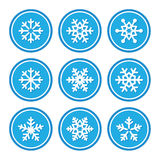 Snowflakes icons as retro labels Royalty Free Stock Images