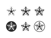 Snowflakes icons. On black and white background Royalty Free Stock Image