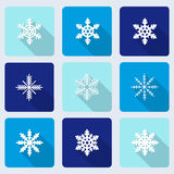 Snowflakes icons with long shadow effect Royalty Free Stock Photos