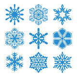 Snowflakes icons. Nine icons snowflakes. Blue on a white background stock illustration