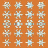 Snowflakes icons set on the orange background. Collection of 20 beautiful snowflakes icons on the orange background for the winter, Christmas and New Year design Stock Illustration