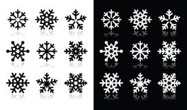 Snowflakes icons with shadow on black and white. Winter christmas icons set- snowflakes Royalty Free Stock Image