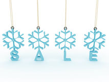 Snowflakes labels with sale on white background Royalty Free Stock Image