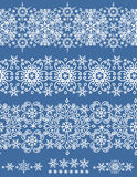 Snowflakes lace seamless border.Winter pattern Stock Photography