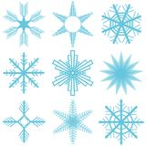 Snowflakes, a large set of snowflakes. Flat design,  illustration Royalty Free Stock Image