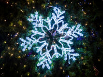 Snowflakes lighting. Decorate on Christmas tree Stock Images