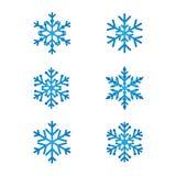 Snowflakes line art set blue color Stock Photo