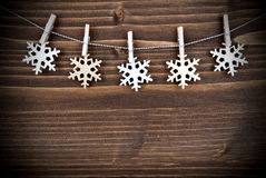 Snowflakes on a Line Royalty Free Stock Images