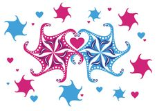 Snowflakes  in love Stock Images