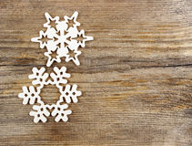 Snowflakes made of wood Royalty Free Stock Images