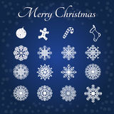 Snowflakes and Marry christmas set. Royalty Free Stock Image