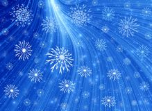 Snowflakes and misty blue light Stock Image
