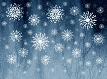 Snowflakes on misty grey picture Royalty Free Stock Photography