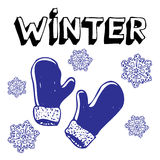 Snowflakes and mittens Stock Images