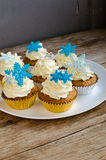 Snowflakes Muffins Royalty Free Stock Photography