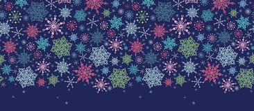 Snowflakes On Night Sky Horizontal Seamless Stock Photo