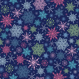 Snowflakes On Night Sky Seamless Pattern Stock Images