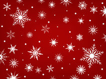 Snowflakes On A Red Background Stock Image