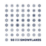Snowflakes outline icons set for new year card Royalty Free Stock Photo