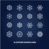 Snowflakes outline icons set for new year card Royalty Free Stock Images