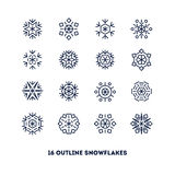 Snowflakes outline icons set for new year card Stock Image