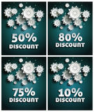 Snowflakes over night dark sky Royalty Free Stock Photo