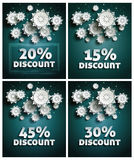 Snowflakes over night dark sky Royalty Free Stock Photos