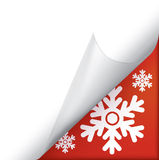 Snowflakes page curled corner Royalty Free Stock Photo