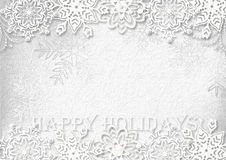 Snowflakes paper  on white textured background. Greeting card Royalty Free Stock Photo