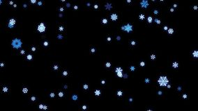Snowflakes particles fallen down on black screen stock footage