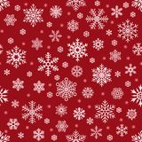 Snowflakes pattern. Christmas falling snowflake on red backdrop. Winter holiday snow seamless vector background vector illustration