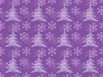 Snowflakes pattern with Christmas trees Royalty Free Stock Image