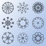 Snowflakes pattern. Nine snowflakes pattern on blue background Stock Image