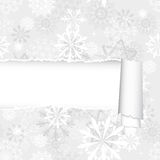 Snowflakes Pattern With Torn  Stripe Royalty Free Stock Photos