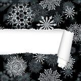 Snowflakes Pattern With Torn  Stripe. Snowflakes pattern with ripped torn paper stripe. Vector illustration Royalty Free Stock Photo