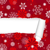 Snowflakes Pattern With Torn  Stripe Stock Photography