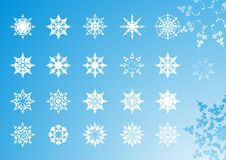 Snowflakes patterns collection Stock Photography
