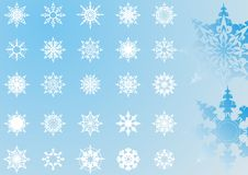 Snowflakes patterns collection(3). Snowflakes patterns collection,25 pieces  illustration Stock Images