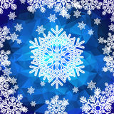 Snowflakes polygonal background. Christmas holiday background. White snowflakes on blue polygonal mosaic.  Low poly style vector illustration Stock Photos