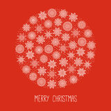 Snowflakes vector postcard design. Winter round element in red background Royalty Free Stock Photography