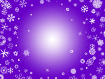 Snowflakes - purple. White snowflakes on a purple background Royalty Free Stock Photo