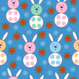 Snowflakes and rabbits Royalty Free Stock Images