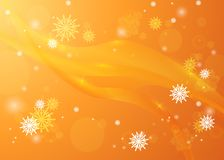 Snowflakes in the rays of light. Bright winter background. Chris. Golden winter background. Snowfall and festive lights. Christmas background. New Year Stock Photography