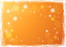 Snowflakes in the rays of light. Bright winter background. Chris. Golden winter background. Snowfall and festive lights. Christmas background. New Year Royalty Free Stock Photo