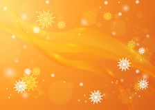 Snowflakes in the rays of light. Bright winter background. Chris. Golden winter background. Snowfall and festive lights. Christmas background. New Year.Vector Royalty Free Stock Photo